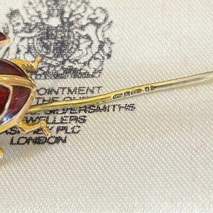 Vintage 9ct, 9k, 375 Gold & Enamel Ladybird, stick, tie, cravat, stock pin