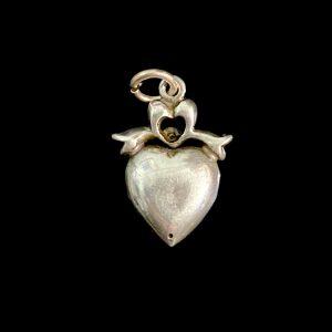 Antique, Victorian Sterling Silver, black dot paste heart & bow Pendant, C1860