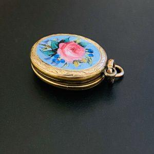 Pretty, Victorian, 9ct, 9k, 375 Gold & Enamel Rose locket, C1880