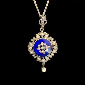 An exquisite, Rare Georgian Paste & Blue glass pendant. Circa 1820's