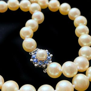 Classic, Cultured Pearl necklace on 9ct Gold Sapphire & Diamond cluster clasp
