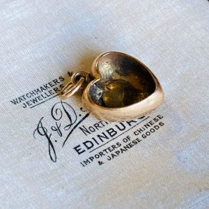 Antique, Victorian 15ct, 15k, 625 Gold, Romantic Pearl Heart Pendant, Circa 1860