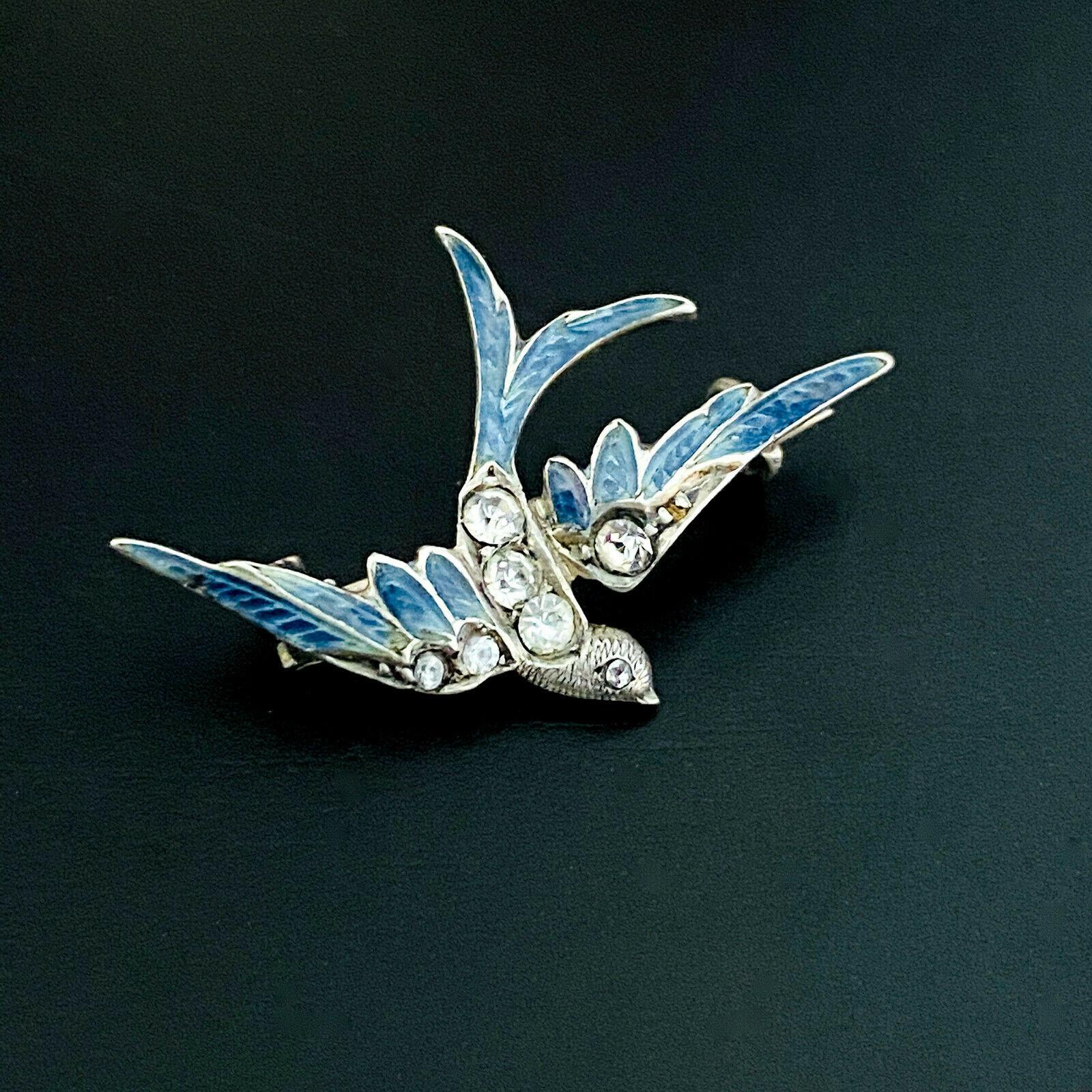 Antique, Victorian Silver black dot paste flying swallow/swift/blue bird brooch