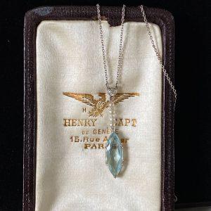 Art Deco Platinum, Aquamarine, Diamond & natural Pearl lavalier necklace, C1920