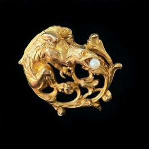 Art Nouveau 9ct, 9k, 375 Gold & Pearl dragon, griffin Brooch, Pin C1905
