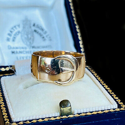 Vintage, 9ct, 9k, 375 Yellow Gold, wide buckle ring, 4.1 grams