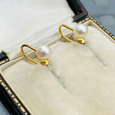 Classic pair of 9ct, 9k, 375 Gold Cultured, Saltwater 5.5mm Pearl Earrings