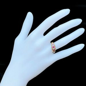 Victorian 18ct, 18k, 750 Gold Old-cut Diamond & Ruby five stone boat ring