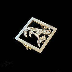Edwardian 15ct/15k 625 Rose Gold & Platinum rose-cut Diamond 'A' monogram brooch