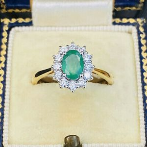 Stunning 18ct, 18k, 750 Gold Emerald & Diamond (1.29cts) Cluster engagement Ring