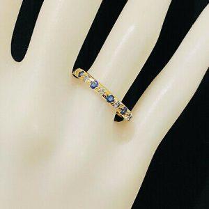 Vintage 18ct, 18k, 750 gold Sapphire & Diamond full Eternity, anniversary Ring