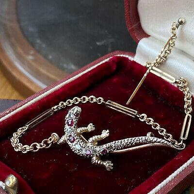 Victorian Gold, Ruby & rose-cut Diamond Gecko, lizard, reptile, bug, brooch/pin