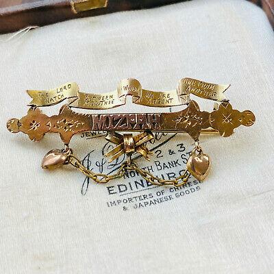 Victorian 9ct, 9K, 375 Gold MIZPAH Brooch By Maker A & G, CHESTER 1885
