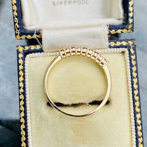 Vintage 9ct/9k, 375 gold, Ruby & Diamond half eternity,anniversary,stacking ring