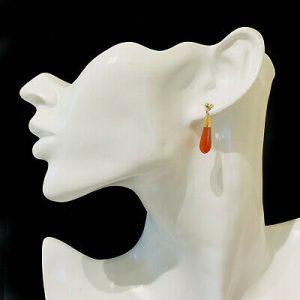 Vintage, pair of 9ct, 9k, 375 Gold Carnelian, bombe drop Earrings, Circa 1960
