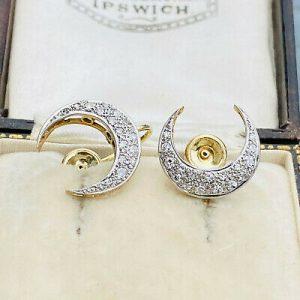 Art Deco, 14ct Gold & Platinum, Diamond crescent moon screw on Earrings, C1930