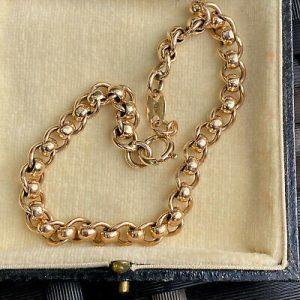 Vintage 9ct/9k, 375 Gold, double belcher link bracelet, bolt ring clasp fitting