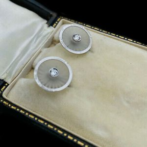 Antique Platinum & 18ct white Gold, Camphor Glass and Diamond Earrings, C1920