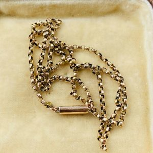 Victorian 9ct, 9k, 375 Gold belcher link chain with barrel clasp