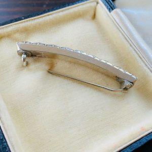 Antique, Georgian Silver, black dot paste curved brooch, pin, Circa 1830
