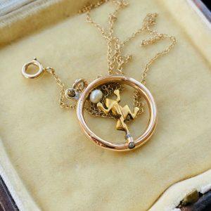 Edwardian 9ct, 9k, 375 Rose Gold, Demantoid Garnet and Pearl frog pendant