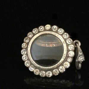 Georgian Silver, black dot paste double sided photo, locket Pendant Circa 1830