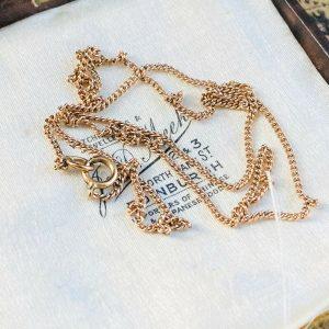 """Vintage, fine 9ct, 9k, 375 Rose Gold curb link chain, length 18.5"""" / 47cm"""