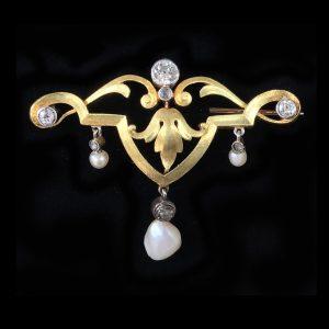 Antique, Belle Epoque Gold & Platinum Diamond & Pearl Brooch / Pin C1910