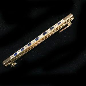 Art Deco 18ct, 18k, 750 Gold & Plat Diamond & Sapphire 2.00ct bar, line brooch C1920