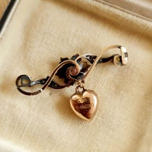 Victorian 15ct, 15k, 625 Rose Gold Diamond and Seed pearl pendant (brooch conversion) with 9ct pearl heart drop