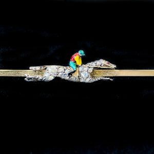 Edwardian 9ct Gold and Silver Diamond & Enamel race horse and Jockey, equestrian themed bar brooch, tie pin