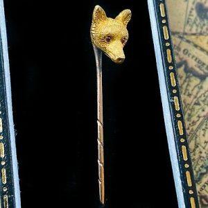Edwardian 18ct, 18k, 750 Gold Fox head with cabachon Ruby eyes, stickpin C1905