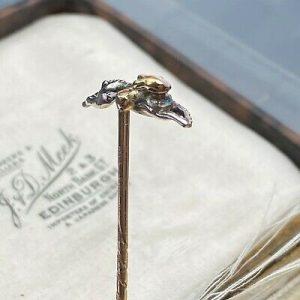 RESERVED Edwardian 15ct/15k,625 Gold, rose-cut Diamond & Enamel rabbit/hare stick/tie pin