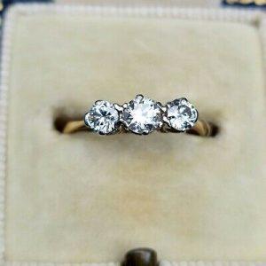 Art Deco, 18ct, 18k, 750 Gold & Platinum Diamond 0.60ct 3-stone engagement ring