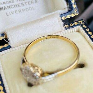Art deco, 18ct/18k, 750 Gold & Platinum, Diamond, Daisy, cluster engagement ring