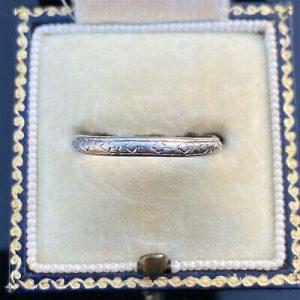 Antique, Art Deco platinum stacker, wedding band, ring, Circa 1920