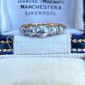 Edwardian 18ct, 18k, 750 Gold Diamond 0.86ct Five Stone Ring, Circa 1901