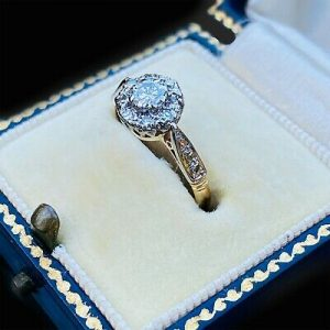 Vintage 18ct, 18k, 750 Gold Diamond, daisy Cluster engagement ring, C1960