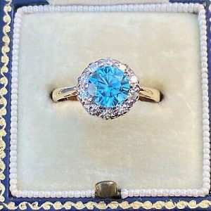 Vintage blue Zircon and Diamond cluster, dress, engagement ring, C1960