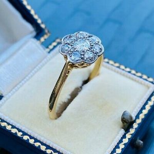 Art deco, 18ct, 18k, 750 Gold, Diamond 1:00ct, Daisy cluster engagement ring
