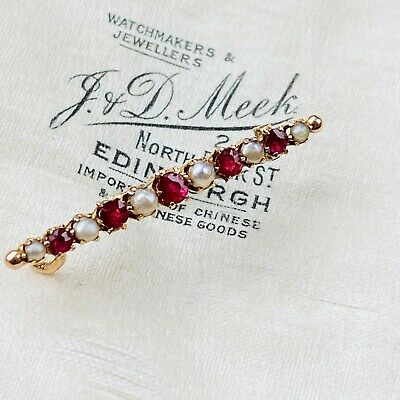 Art Nouveau 9ct, 9k, 375 Gold Ruby & Pearl Brooch, lace Pin Circa 1895