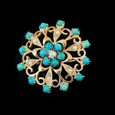 Edwardian 9ct gold Turquoise & pearl Romantic, floral and heart brooch, C1910