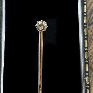 Edwardian 15ct/15k 625 Gold old-cut Diamond 0.25ct stick, tie, cravat, stock pin