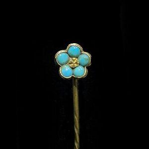 Art Nouveau 15ct, 15k, 625 Gold Turquoise romantic 'forget me knot' stick pin