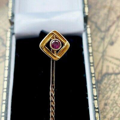 Edwardian 15ct, 15k, 625 Gold, Ruby, square, Stick, tie, cravat, lapel pin