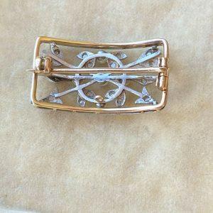 Belle Epoque 18ct Gold & Platinum Pearl and Diamond arrow Brooch, Circa 1901