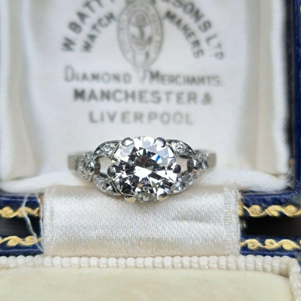 Fabulous, Art Deco Platinum Diamond 1.45ct Solitaire engagement ring C1920