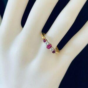 Edwardian 18ct, 18k, 750 Gold Ruby & old-cut Diamond 0.49ct five stone ring