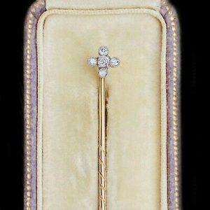 Art Nouveau, 15ct/15k, 625 Gold, quatrefoil Diamond stick, tie, cravat pin C1900