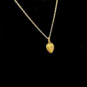 Victorian 15ct/15k, 625 Gold Diamond puffy Heart Pendant on 9ct chain